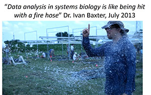 "Photo of a person standing outside in the weather with a quote ""Data analysis in systems biology is like being hit with a fire hose"" Dr. Ivan Baxter, July 2013"