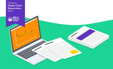 Graphic illustration of computer and papers.